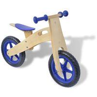 vidaXL Balančný drevený bicykel, modrý
