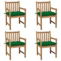 vidaXL Záhradné stoličky 4 ks so zelenými podložkami teakový masív