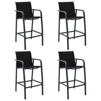 vidaXL Záhradné barové stoličky 4 ks čierne textilénové