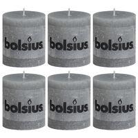 Bolsius Rustikálne valcové sviečky 6 ks 80x68 mm, svetlosivé