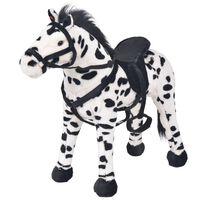 vidaXL Stojaca plyšová hračka kôň čierno-biely XXL