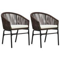 vidaXL Záhradné stoličky 2 ks hnedé PVC ratanové