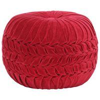 vidaXL Taburetka červená 40x30 cm bavlnený zamat nariasený dizajn