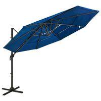 vidaXL 4-stupňový slnečník s hliníkovou tyčou azúrovo-modrý 3x3 m