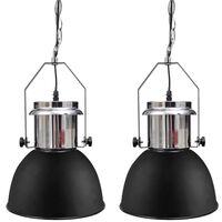vidaXL Kovová stropná lampa 2 ks, nastaviteľná výška, moderná, čierna