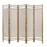 vidaXL Skladací 5-panelový paraván, bambus a plátno, 200 cm