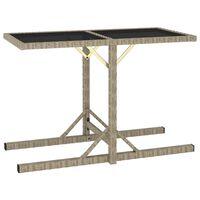 vidaXL Záhradný stôl, béžový 110x53x72 cm, sklo a polyratan