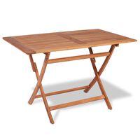 vidaXL Skladací záhradný stôl 120x70x75 cm, tíkový masív