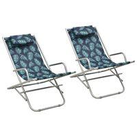 vidaXL Hojdacie stoličky 2 ks oceľové potlač listov