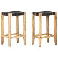 vidaXL Barové stoličky 2 ks čierne pravá koža 75 cm