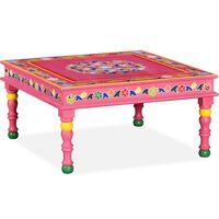 vidaXL Ručne maľovaný konferenčný stolík, mangové drevo, ružový
