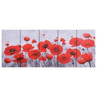 vidaXL Sada nástenných obrazov na plátne Kvet rôznofarebná 200x80 cm