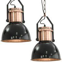 vidaXL Stropná lampa 2 ks, čierna, okrúhla E27