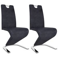 vidaXL Jedálenské stoličky, cikcakový tvar 2 ks, sivé, umelý semiš