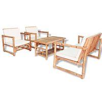 vidaXL 4-dielna záhradná sedacia súprava s vankúšmi bambus