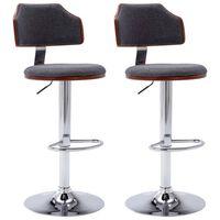 vidaXL Barové stoličky 2 ks, tmavosivé, ohýbané drevo a látka