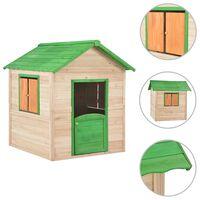 vidaXL Detský domček na hranie, jedľové drevo, zelený