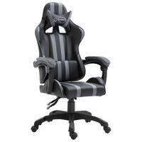 vidaXL Herná stolička, sivá, umelá koža