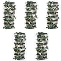 vidaXL Mriežkový plot z vŕbového prútia 5 ks s umelým lístím 180x60 cm