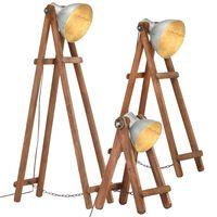 vidaXL Stojanové lampy 3 ks strieborné E27 masívne mangovníkové drevo