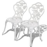 vidaXL Bistro stoličky 2 ks, odlievaný hliník, biele