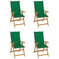 vidaXL Záhradné stoličky 4 ks so zelenými podložkami tíkový masív