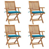 vidaXL Skladacie záhradné stoličky s podložkami 4 ks tíkový masív