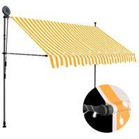vidaXL Ručne zaťahovacia markíza s LED 300 cm biela a oranžová