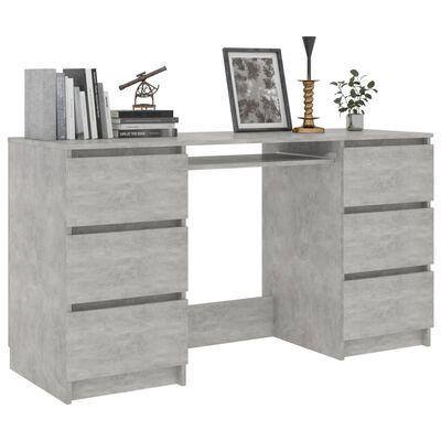 vidaXL Písací stôl, betónovo sivý 140x50x77 cm, drevotrieska