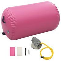 vidaXL Nafukovací gymnastický valec s pumpou 100x60 cm PVC ružový