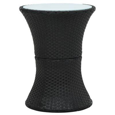 vidaXL Záhradný bočný stolík v tvare bubna čierny polyratanový