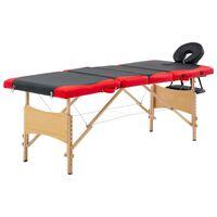vidaXL Skladací masážny stôl 4 zónový drevený čierny a červený