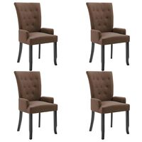 vidaXL Jedálenské stoličky s opierkami 4 ks, hnedé, látka