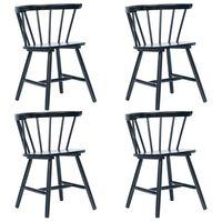 vidaXL Jedálenské stoličky 4 ks čierne masívne kaučukové drevo