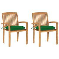 vidaXL Záhradné stoličky 2 ks zelené podložky tíkový masív