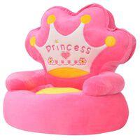 """vidaXL Detské plyšové kreslo """"Princess"""", ružové"""