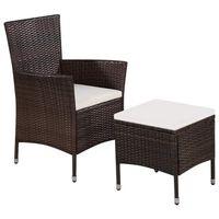 vidaXL Vonkajšia stolička a taburetka s podložkami, polyratan, hnedé
