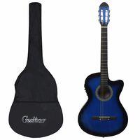 vidaXL 12-dielna sada westernovej gitary s ekvalizérom a 6 strunami modrá