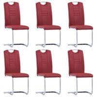vidaXL Jedálenské stoličky, perová kostra 6 ks, červené, umelá koža