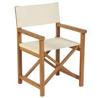 vidaXL Skladacia riaditeľská stolička masívne teakové drevo krémovo-biele