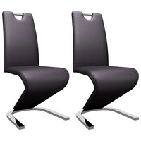vidaXL Jedálenské stoličky, cikcakový tvar 2 ks, hnedé, umelá koža