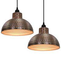 Stropné lampy s polkruhovými tienidlami medenej farby vidaXL 2 ks