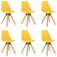 vidaXL Jedálenské stoličky 6 ks, žlté