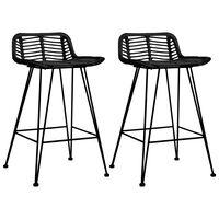 vidaXL Barové stoličky 2 ks čierne, ratan
