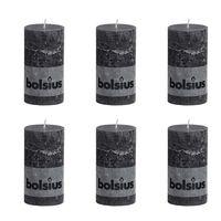 Bolsius Rustikálna valcová sviečka 130x68 mm, antracitová 6 ks
