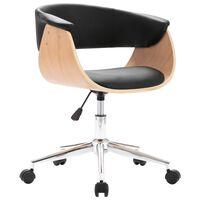 vidaXL Otočná kancelárska stolička, čierna, ohýbané drevo a umelá koža