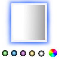 vidaXL Kúpeľňové LED zrkadlo biele 40x8,5x37 cm drevotrieska