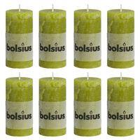 Bolsius Rustikálne valcové sviečky 8 ks 100x50 mm, machovo zelené