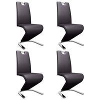 vidaXL Jedálenské stoličky, cikcakový tvar 4 ks, hnedé, umelá koža