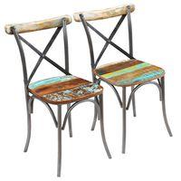 vidaXL Jedálenské stoličky 2 ks, recyklovaný masív